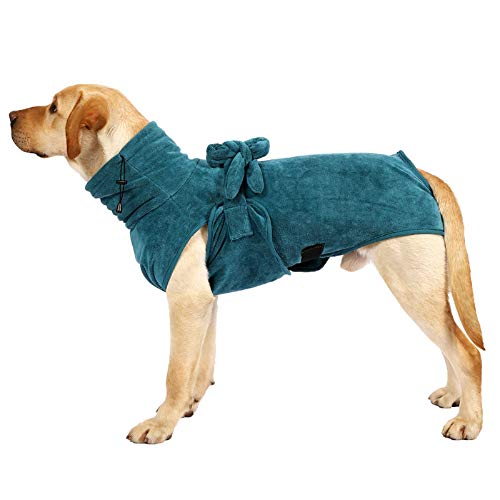 Dog Bathrobe Towel Gown Ultra Light Luxury Soft Super Absorbent Quick Drying Easy Wear with Adjustable Strap Belt Comfortable Bath Robe Dog Pajama