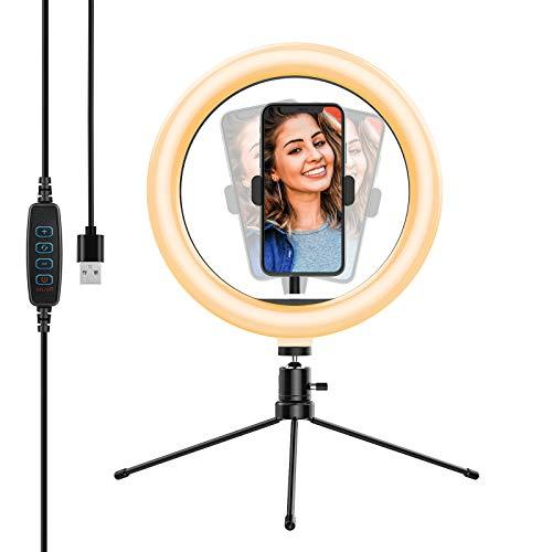 Yoozon Selfie Ringleuchte Stativ mit Fernbedienung,Tischringlicht mit 3 Farbe und 10 Helligkeitsstufen, Live Licht für schöne Fotos oder Videosschooting,...