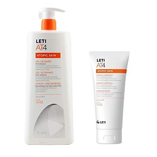 Leti AT-4 Atopic Skin Gel de Baño Piel Atópica, 750ml+REGALO Crema Corporal, 200ml