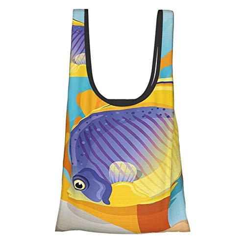 Ocean Sealife Marine Navy Cartoon Design Exotic Wild Tiny Aquarium Fish Art Aqua Blue And Mari Gold Reusable Fold Eco-Friendly Shopping Bags
