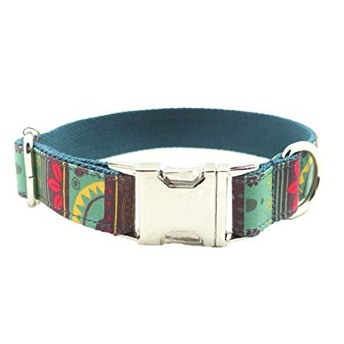 Borlai Collar para Mascotas Resistente Al Desgaste Mordida Ajustable Collar de Perro Resistente con Hebilla de Metal con Anillo en D