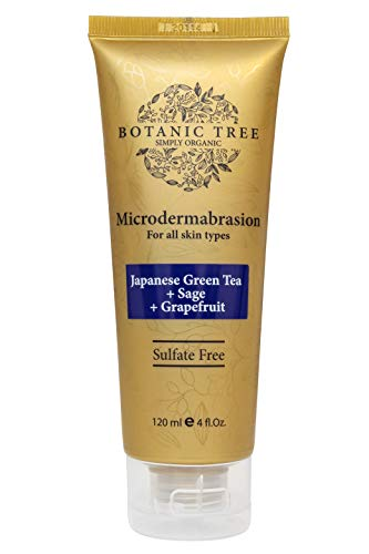 Microdermabrasion Facial Scrub and Face Exfoliator Botanic Tree-Large Size 4oz- Exfoliating Face Scrub Polish w/Organic Crystals for Anti Aging,Acne Scars,Dullness,Blackheads,Pore Size- Sulfate Free