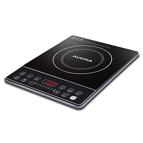 AUCMA Cocina de inducción Placa de inducción portátil Placa de cocción eléctrica de 2000W Cooktop Cooktop 240 ℃ con temporizador de 24 horas y pantalla LED
