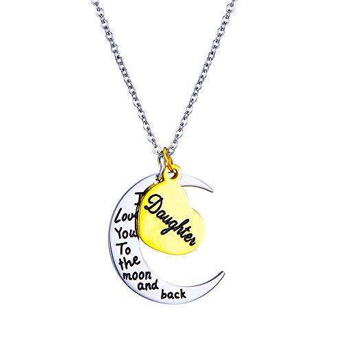 Kim Johanson Mond Halskette Silber & Gold Ich Liebe Dich bis zum Mond und zurück inkl. Geschenkverpackung (Tochter)