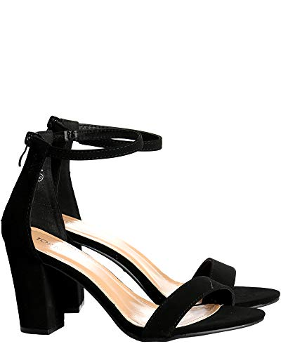 TOP Moda Womens Hannah Open Toe Casual Ankle Strap Sandals, Black, Size 9.0