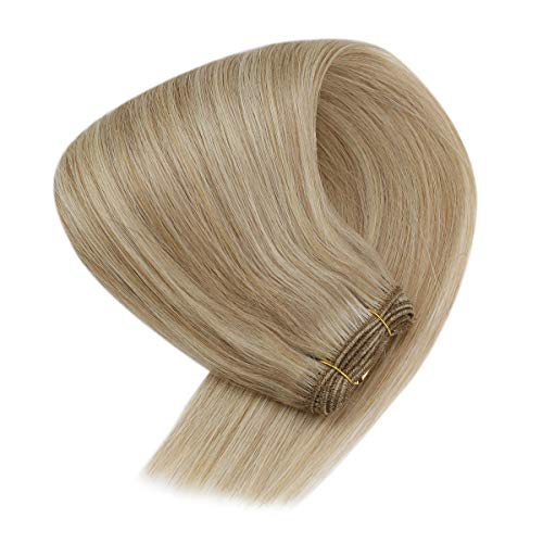 Sunny Sew in Hair Extensions Honey Blonde Weft Extensions Human Hair Strawberry Blonde with Bleach Blonde Highlights Sew in Weft Real Human Hair Extensions 20inch 100g