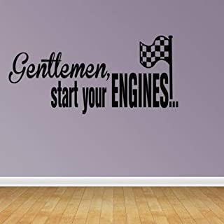 Diuangfoong Wall Decal Quote Gentlemen Start Your Engines with Checkered Flag Racing