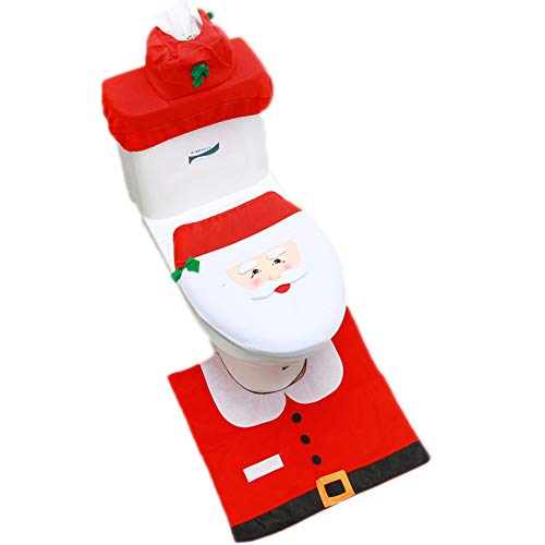 Ewindy Set of 3 Christmas Santa Toilet Seat Cover Anti-Slip Bathroom Mat Toliet Rug Christmas Decoration for Home New Year Mat