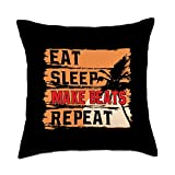 Vintage Eat Sleep Make Beats Repeat Lovers Gifts Retro Eat Sleep Make Beats Repeat Funny Music Producer Lover Throw Pillow, 18x18, Multicolor