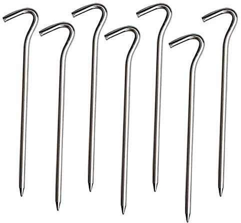 TRTO Metal Ground Tent Pegs Hooks, Tent Stakes Heavy Duty Galvanized Steel J Hooks Anchors, Garden for Outdoor Camping Trip