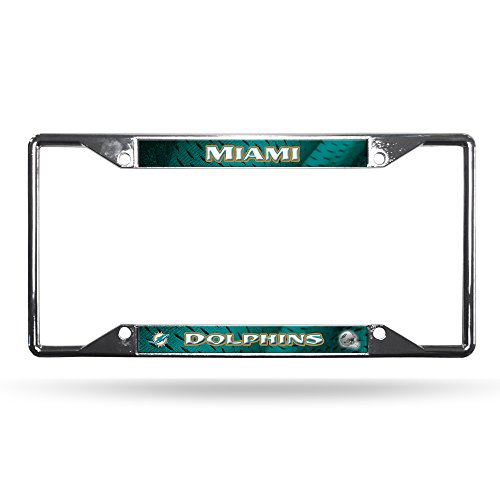 Rico Industries NFL Miami Dolphins Easy View Chrome License Plate Frame