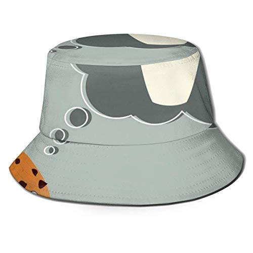 Henry Anthony Unisex Fisherman Cap, Lächelnder Keks Denken an Milch in einem Glas Tagträumen, Travel Beach Hat