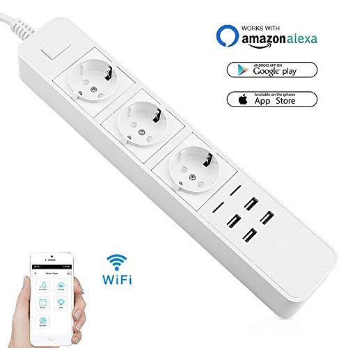 VIFLYKOO Presa Wifi Intelligente 2-Pack Presa Timer Elettrica Programmabile Interruttore APP Remoto Controllo Smart Wi-Fi Plug con Porta USB Compatibile con Android e iOS, Amazon Alexa
