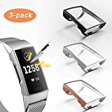 3 Pack Compatible with Fitbit Charge 4/Charge 3 Screen Protector,Valband Ultra Slim Soft Full Cover Case [Scratch-Proof] Bumper for Fitbit Charge 4 and Fitbit Charge 3/SE