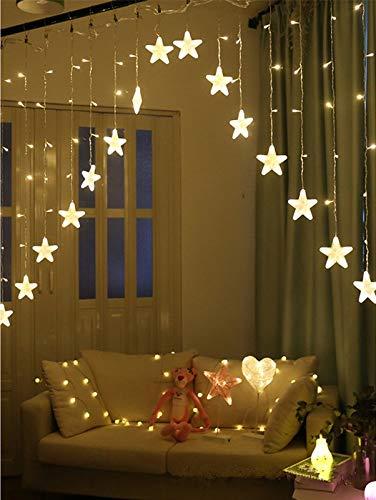 MQIQI 3M 16 LED Star Luci per Tende A Cortina Ghirlanda di Luce di Natale Ghirlanda LED Decorazione della Ghirlanda di Compleanno Festa A Casa di Nozze (Color : Warm White)