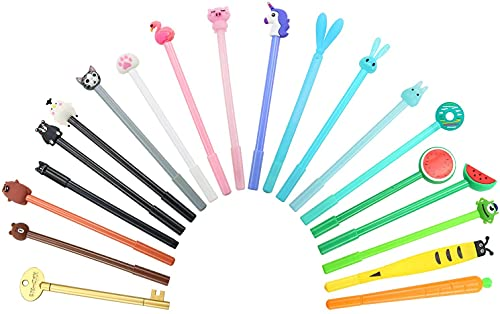 Weimay 21 Pieces Cute Cartoon Ink Pens Assorted Style Writing Pens Gel Ink Pen Set for Home Office School Party Kids Gift