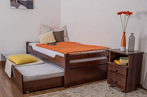 Einzelbett/GästebettEasy Premium Line K1/1h inkl. 2. Liegeplatz und 2 Abdeckblenden, 90 x 200 cm Buche Vollholz massiv Dunkelbraun