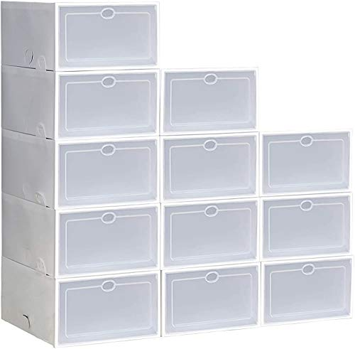 Shoe Storage Boxes Clear Plastic Stackable Shoe Organizer 12 Pack, Need to Assemble (White)
