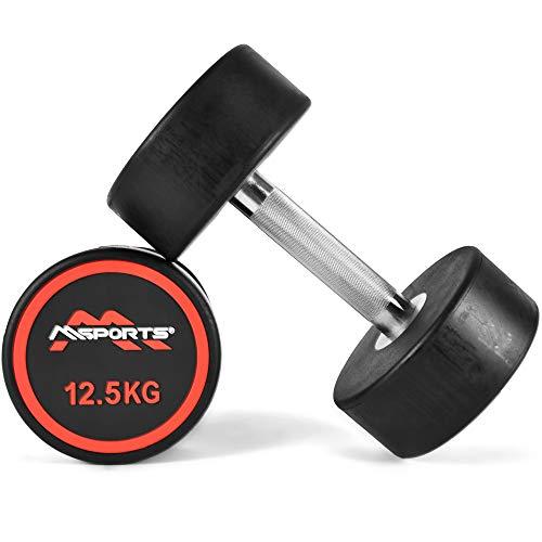 MSPORTS Rundhantel Premium 2er Set | Gummi Kurzhantel Beschichtung 2,5-50 kg | Griff verchromt und gerändelt | Verschiedene Gewichtsvarianten Hantel (2 x 12,5 kg)