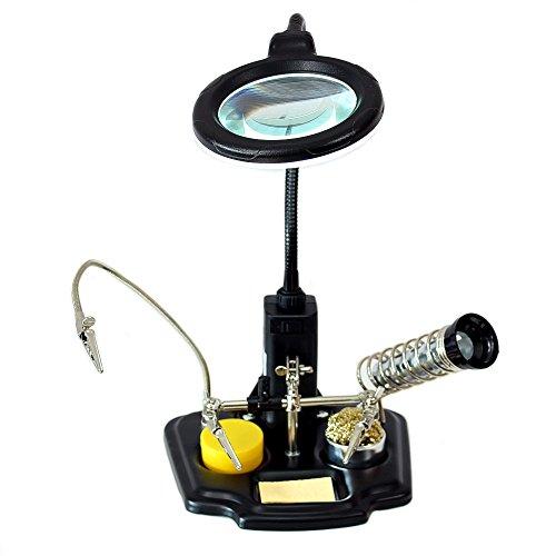 Mano soporte sujeción de placa ZD-10Y con lámpara lupa LED soporte soldador
