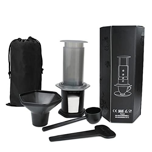 Cafetera manual portátil a presión con filtro (incluye bolsa de nylon, 350 filtros de papel y accesorios). Cafetera manual para espresso, americano o cold brew. Cafetera de viaje color negro