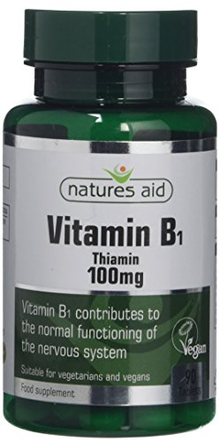 Natures Aid Vitamin B1 Thiamin, 100 mg, 90 Tablets (Contributes to Normal Functioning of the Nervous System, Made in the UK, Vegan Society Approved)