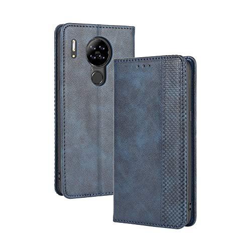 LAGUI Kompatible für Blackview A80 Hülle, Leder Flip Case Schutzhülle für Handy mit Kartenfach Stand und Magnet Funktion als Brieftasche, Blau