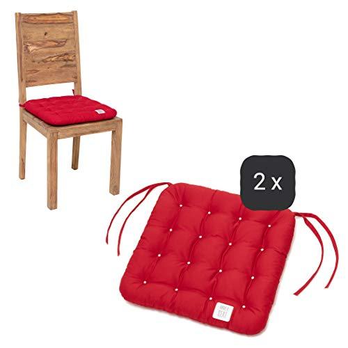 HAVE A SEAT Luxury - Sitzkissen 40x40 cm - 2er Set mit Bändern, waschbar bei 95°C, Trockner geeignet, bequemes Stuhlkissen - pflegeleicht, farbecht - Made in Germany (Rot)