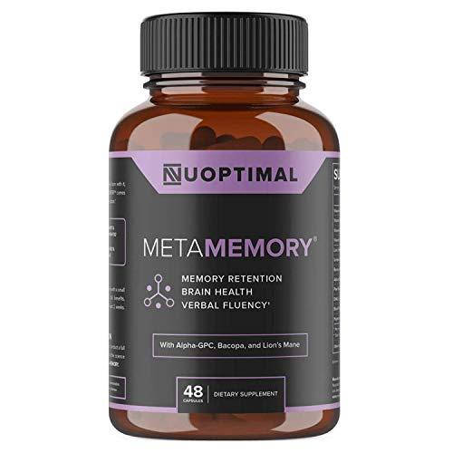 metaMEMORY by Nuoptimal - Premium Nootropic Brain Booster Supplement for Memory Support & Brain Health - 8 Cognitive Enhancing Ingredients Including Lions Mane Mushroom, Alpha GPC, DHA, Huperzine A