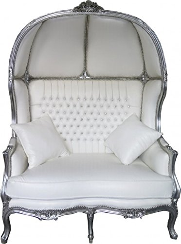 Barock 2er Ballon Sofa Weiß Lederoptik/Silber - Wohnzimmer Couch Möbel Lounge Hochzeit
