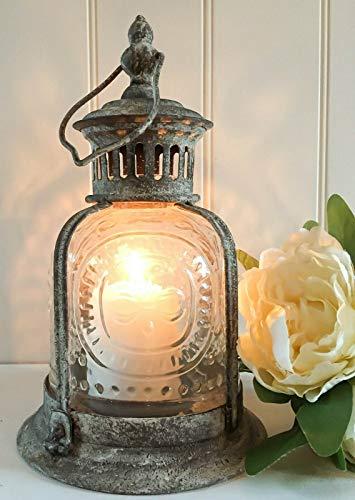 Vintage Style grey shabby chic fleur-de-lys storm lantern candle holder