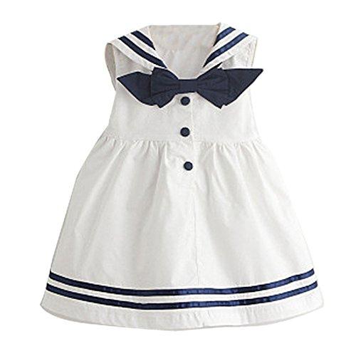 Baby Mädchen Kleinkind Kleine Kinder Sommer ärmelloses Matrosenkleid Marineblau Sommerkleid Baumwolle für 1–3 Jahre Gr. 95 cm, weiß