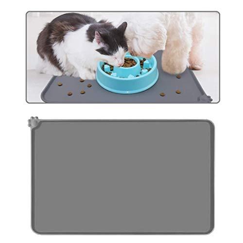 Voarge Tiernahrung Matte Platzdeckchen, Fressnapfunterlage für Katze oder Hund, Futtermatte aus Silikon mit Rand, Wasserdicht Anti-Rutsch Antihaft-Futternapf, 47x30cm(Grau)
