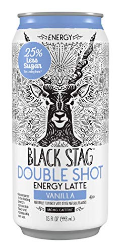 Black Stag Coffee, Pre-Made Iced Vanilla Latte + Energy, Ready To Drink, 15 Oz, (Pack Of 12)