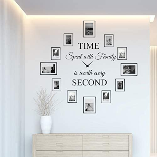 Time Spent with Family is Worth Every Second Wall Decal Decor Clock Family Quote Saying Sticker product image