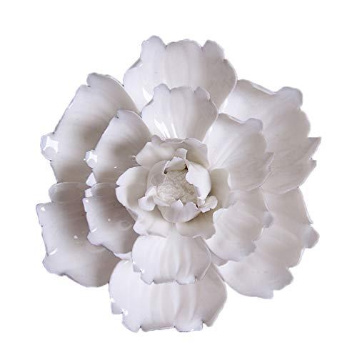 GARNECK - Flores de cerámica colgadas en la pared, adorno hecho a mano exquisito 3D de cerámica Luoyang Peonía decoración artesanal colgante decoración salón dormitorio bar (blanco