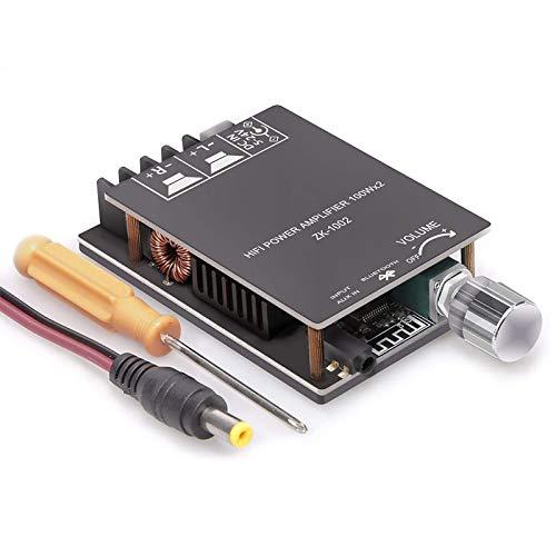 ZHITING Placa amplificadora Bluetooth 200W TPA3116, Placa de Amplificador de Audio 100W + 100W con técnica de Filtro LC, Canal Dual DC8-24V, conexión sin contraseña al teléfono en Silencio