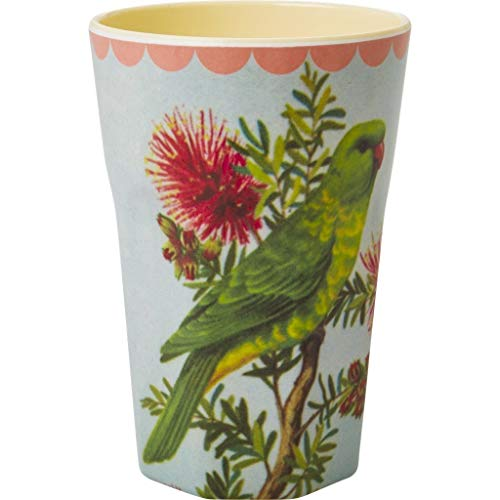 Rice Latte Cup Melamine Two Tone with Vintage Parakeet Print Cream by Rice DK
