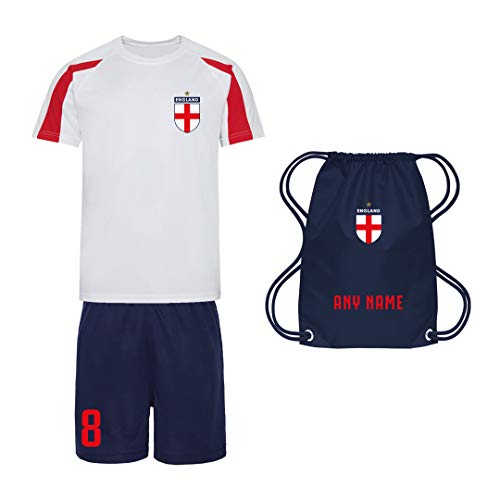 Sportees Retro Kids Personalised Red White And Blue England Style Football Kit Bundle With FREE Gym Bag Youth Football England Boys Or Girls Football Jersey 78 Years