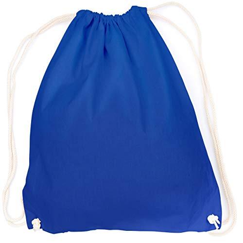 vanVerden - Turnbeutel aus Baumwolle - Dunkel-Blau blanko/unbedruckt - Blauer Stoff-Beutel mit Kordelzug Verschluss