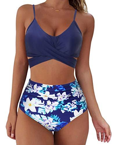 RXRXCOCO Vrouwen Wikkel Bikini Set Duw omhoog Hoge Taille 2 Stuk Badpakken Plus Size Badmode