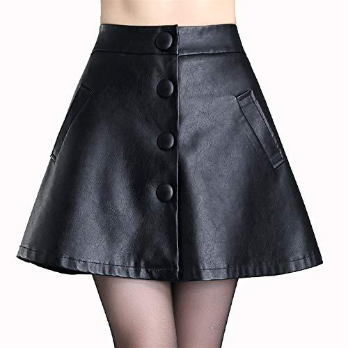 ERLIZHINIAN Falda de cuero auténtico, color negro