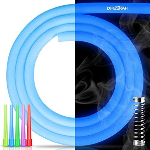 DFESKAH Shisha Silikonschlauch Glow, 150cm matt Schlauch inkl. Knickschutzfeder und Hygiene Mundstück (Leuchtendes-Blau)