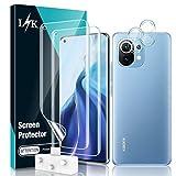 LϟK 4 Pack Protector de Pantalla para Xiaomi Mi 11 5G con 2 Pack HD Película de TPU y 2 Pack Protector de Lente de Cámara - Huella Digital Ultrasónica Fácil de Instalar Sin Burbujas