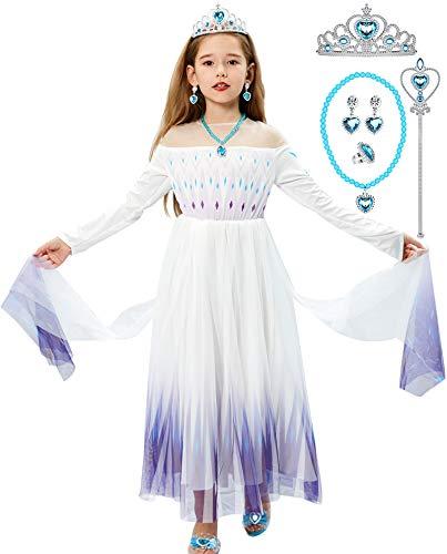 Tacobear Elsa Frozen Vestito Principessa Bambina Elsa Costume Bambina Principessa Corona Parete Guanti Collana Orecchini Anello Principessa Vestito Halloween Costume Regalo Ragazza (120CM)