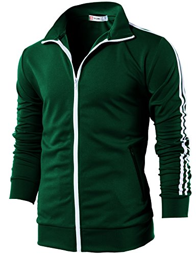 H2H Mens Workout Slim Fit Lightweight Line Training Full Zip-up Jacket DarkGreen US L/Asia XL (CMOJA0103)