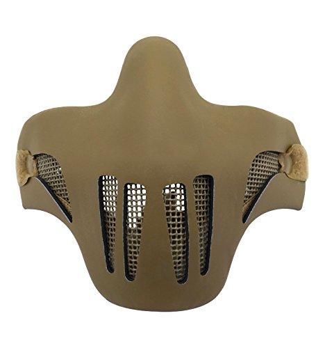 Táctica media cara máscara rejilla protección metal