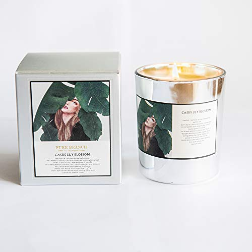PUREBRANCH Cassis Lily Blossom' Soy Candle, Organic, Natural Soy Wax, Made with Essential Oils. 45 Hour Burn time, Vegan Candle. Aromatherapy Candle. Gift for Mum. Gift for Women. Gift for Vegans.