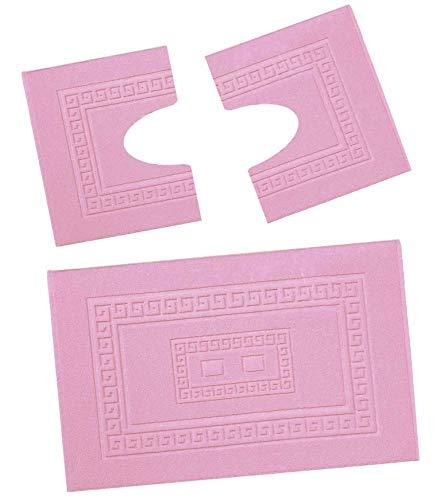 CASA TESSILE Torino Set 3 tappeti Bagno in Spugna, 1 cm 60X90 + 2 Girowater cm 60x45 - Rosa