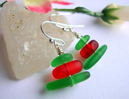 Red & Green Stacked Sea Glass Dangle Earrings